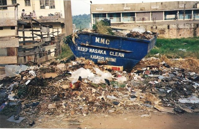 rubbish skip and piles of rubbish in masaka uganda