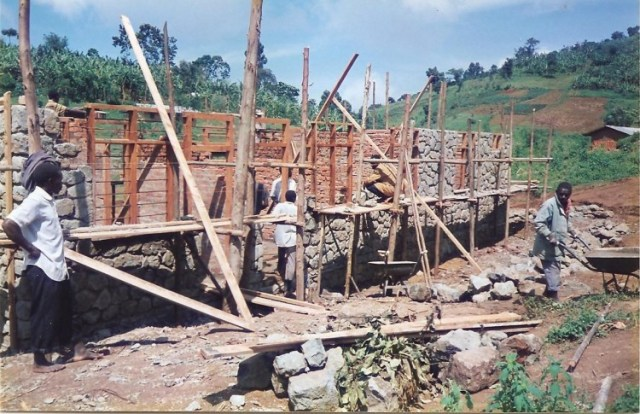 building a stone heath unit at wanale in Uganda 1998