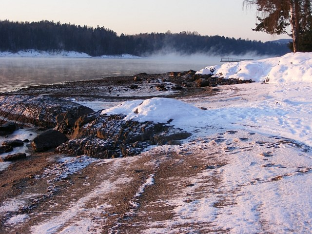 Snow on the beach at Hvalstrand asker norway