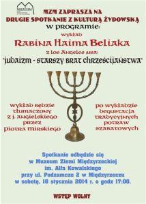 Poster for Rabbi Haim Dov Beliak's lecture in Miedzyrzecz