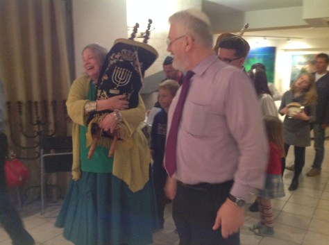 Rabbi Brener with the Torah