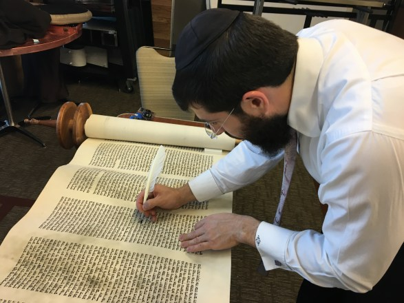 photo: Before going to Poland the Torah was checked and damaged letters were repaired. Scribe Menachem Bialo is seen here fixing the Torah.
