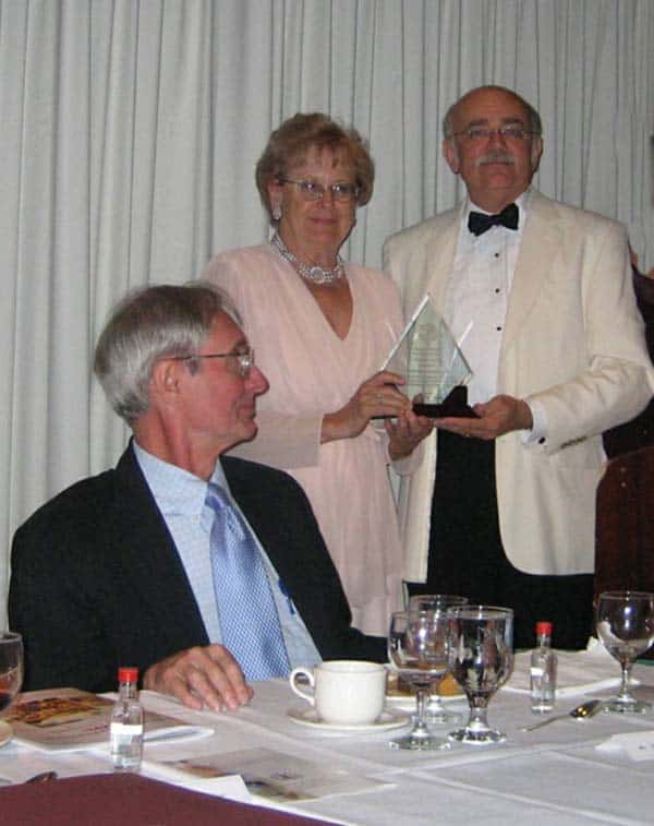 Pictured L-R:  Pres. Ted Mirecki, Henrietta Nowakowski (award recipient), 2nd VP Peter Obst (presenter of Founders Award)