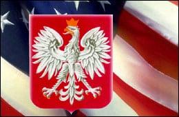 Polish Eagle over American flag