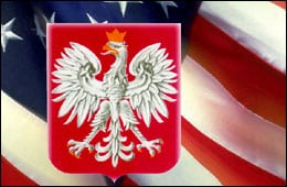 Polish Eagle over American flag