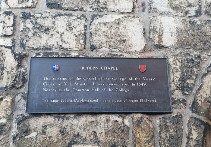 To Bedern Chapel in York