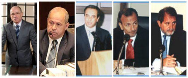 Da esquerda para a direita: Aloysio Neves Guedes, Domingos Brazão, José Gomes Graciosa, Marco Antonio Alencar e José Mauricio Nolasco. Fotos: TCE