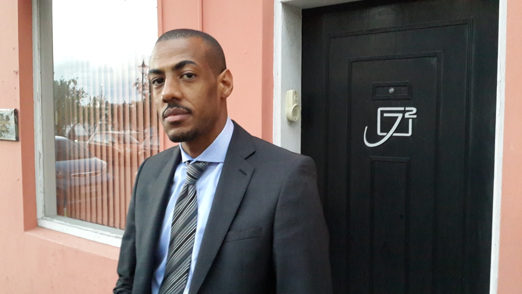 Lawyer Eugene Johnston outside his firm J2 Chambers earlier this year. He is representing the Corporation of Hamilton in a constitutional challenge against the Government of Bermuda