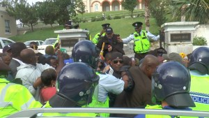Pepper spray: Police in Bermuda used pepper spray to disperse protesters against an airport development deal.