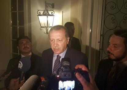 Turkish President Tayyip Erdogan speaks to media in the resort town of Marmaris