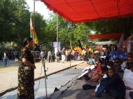 Asha Gurung, Central Comittee Member of Gorkha Jan Mukti Nari Morcha Speaking to Protestors.