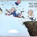 Christopher Weyant cartoon Joe Manchin throwing democracy off the cliff