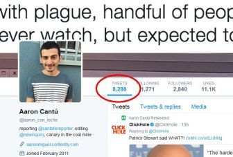 Cantu has 8,288 tweets according to Twitter