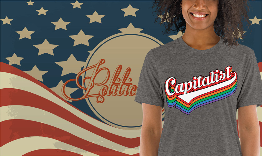 Capitalist Retro Typography T-Shirt   Political T Shirts, Gifts, and Gift Ideas for Republicans and conservatives   PoliticalGift.com