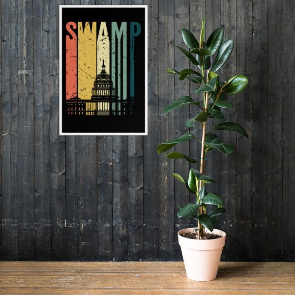 """Drain the Swamp (Congress) Retro FRAMED Poster   Original wall art representing a famous theme of the Donald Trump Presidential campaigns and Presidency, """"Drain the Swamp. Retro style with the Congressional Building in the background."""