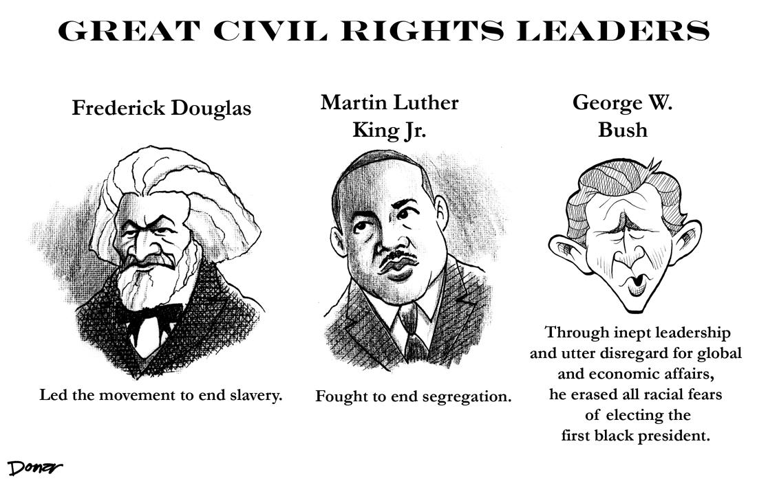 george bush civil rights leader barack obama political cartoon