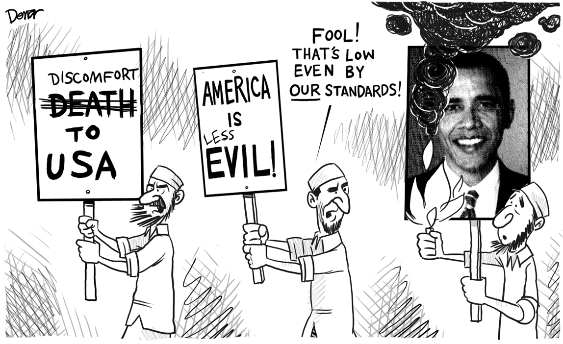 obama iran burn cartoon