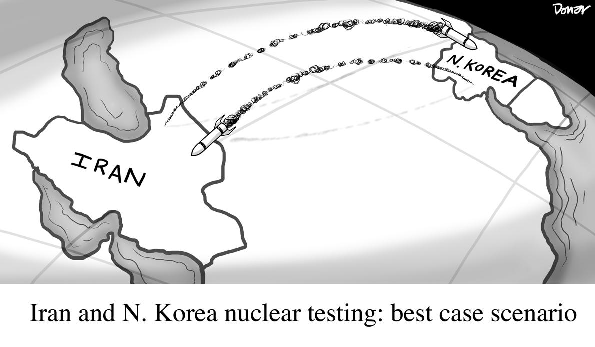 north korea iran nuclear testing cartoon