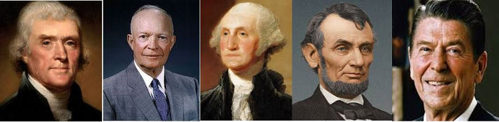 top-5-best-presidents-all-time reagan washington jefferson lincoln eisenhower