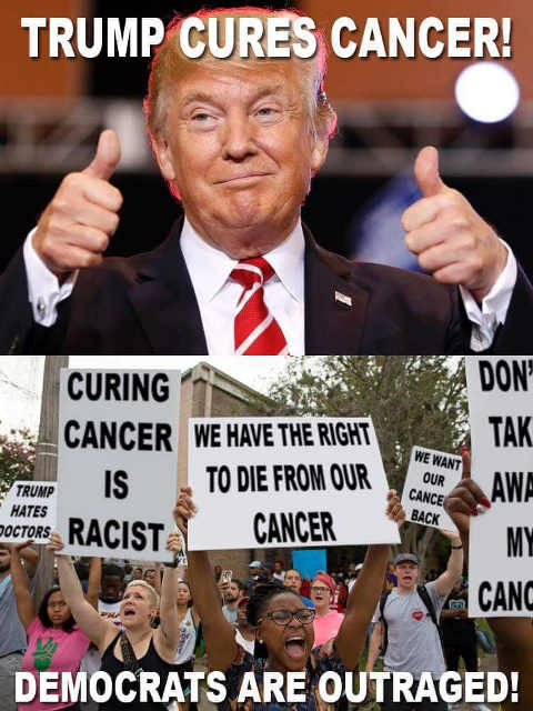 trump-cures-cancer-democrats-liberals-protest