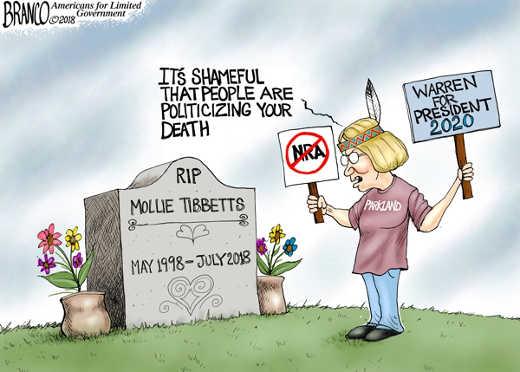 hippee-shameful-people-politicizing-mollie-tibbetts-death-nra-parkland elizabeth warren