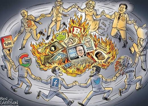 liberals-tech-burning-censorship-facebook-twitter-youtube-warren
