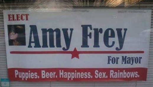 elect-amy-frey-puppies-beer-happiness-sex-rainbows-sign