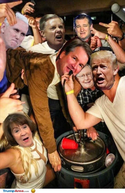 trump-kavanaugh-collins-graham-cruz-pence-party-keg