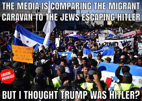 media is comparing immigrant caravan to jews escaping hitler but i thought trump was hitler