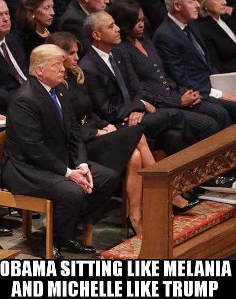 barack obama sitting like melania michelle sitting like donald