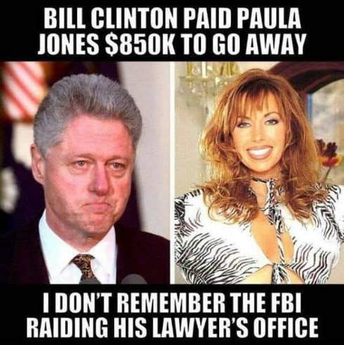 bill clinton paid off paula jones to make go away didnt see fbi raiding offices