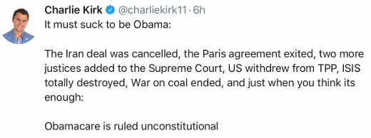 charlie kirk tweet obama legacy crumbling obamacare unconstitutional