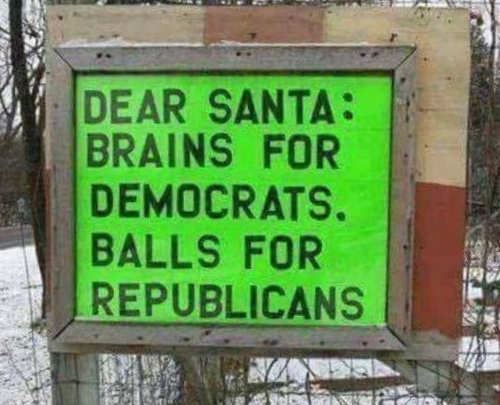 dear santa brains for democrats balls for republicans