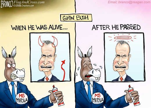 george hw bush mainstream media when alive vs after he died horns angel