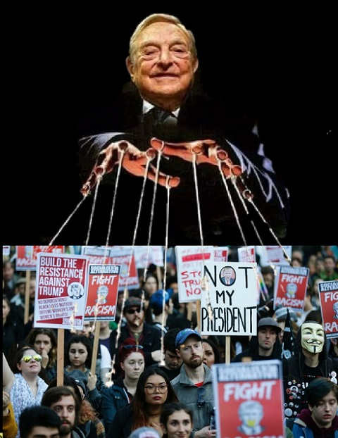 george soros puppet master resistance trump protesters