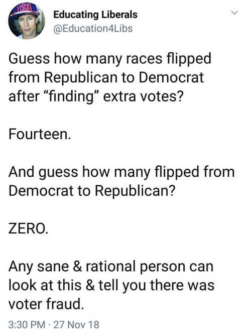 guess how many jurisidictions flipped republican to democrat after finding extra votes definitely voter fraud