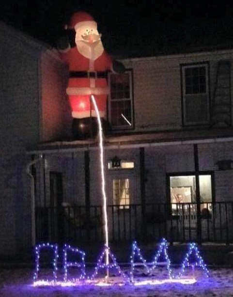 house decoration santa pissing on obama lights