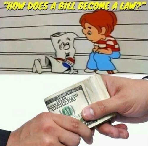 how does bill become law cash used to pay off cartoon