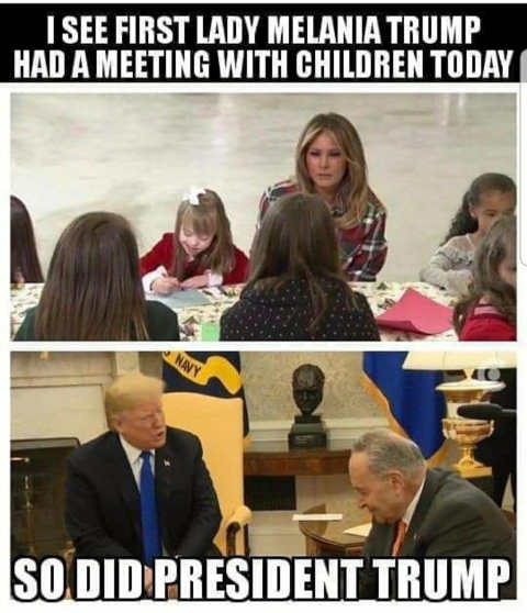 i see first lad melanie trump had meeting with children today so did trump pelosi schumer