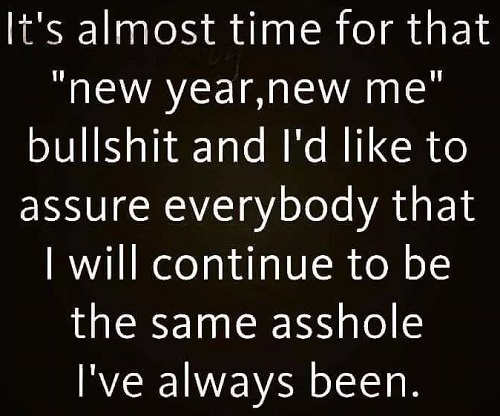 its almost time for new year new me bullshit assure you i will be same asshold always been