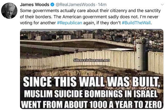 james woods tweet wont vote for trump if all not build worked for israel stopping terror attacks