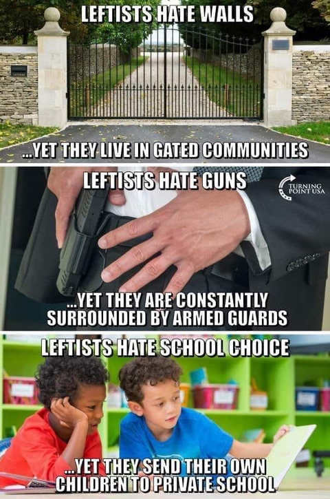 leftists hate walls live gated communities hate guns surrounded by armed guards