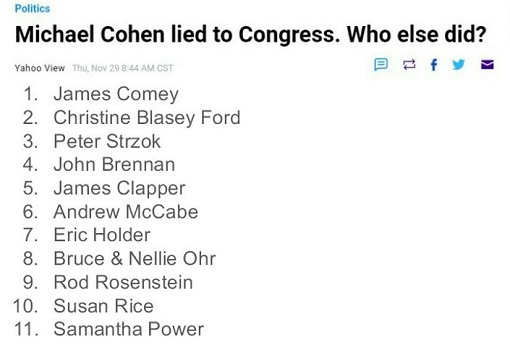 michael cohen lied to congress who else comey ford brennan holder hillary susan rice