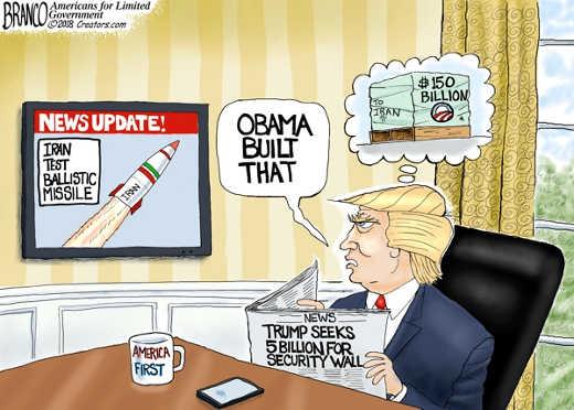 obama built that iran ballistic test 150 billion trump cant get 5 billion for wall