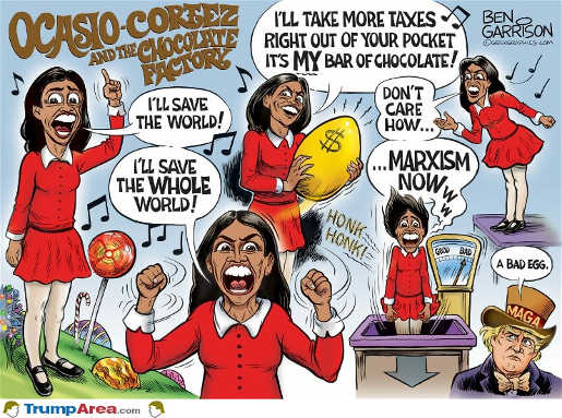 ocasio cortez and chocolate factory save world marxism now bad egg