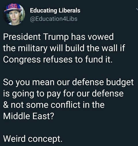 president trump said military will build wall you mean spending on our defense and not middle east conflict weird