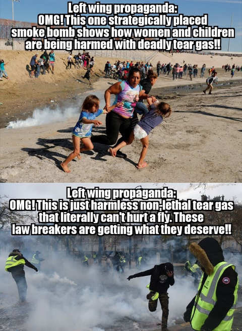 propaganda immigrant caravan smoke vs french protesters tear gas