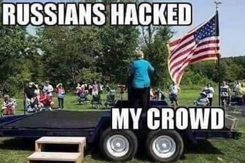 russians hacked my crowd hillary clinton
