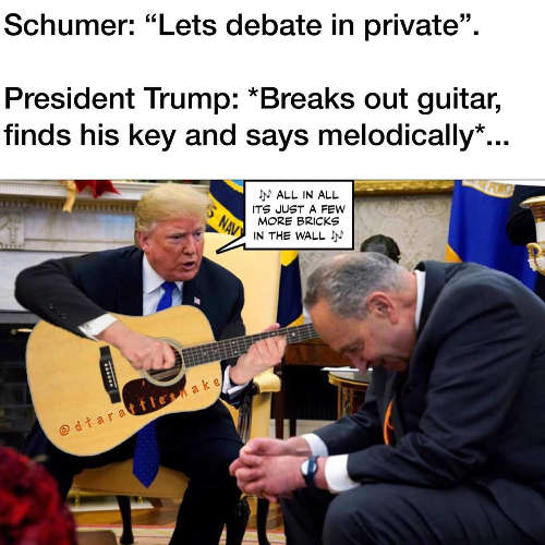 schumer lets debate in private trump all in all its just another brick in the wall guitar