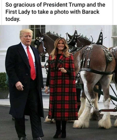 so gracious of trump and melania to take picture with barack obama horses ass